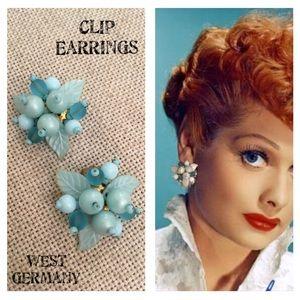 VTG West Germany Blue Bead Cluster Clip Earrings